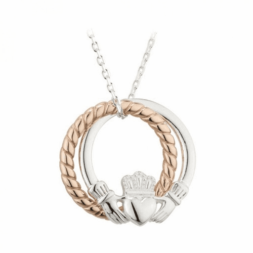 Sterling Silver Claddagh and Rose Gold Rope Ring Pendant
