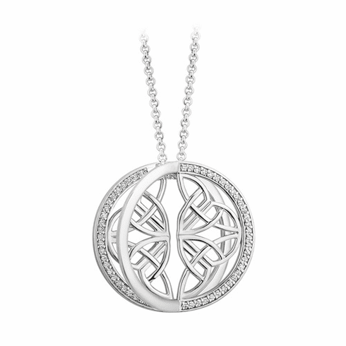 Sterling Silver CZ Round Four Trinity Knot Pendant