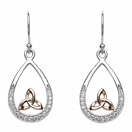 Sterling Silver Rose Gold Trinity Knot Earrings