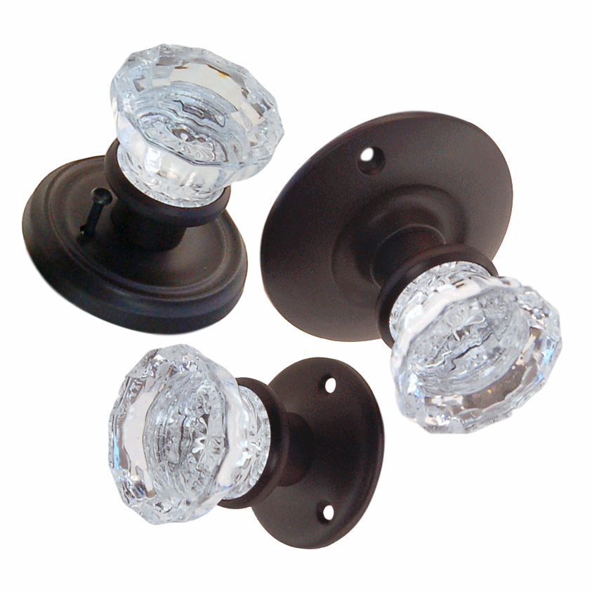 Fluted Glass Doorknob w/Oil Rubbed Bronze Rosettes