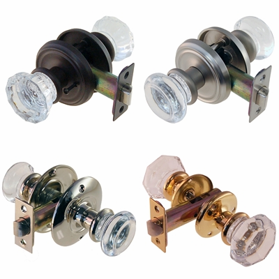 Glass Door Knob Sets with Rosettes