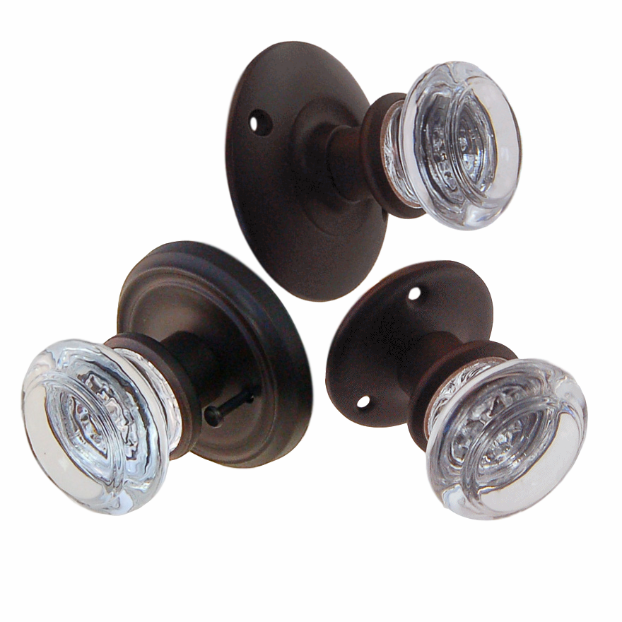 Round Glass Doorknob Sets w/Oil Rubbed Bronze Rosettes