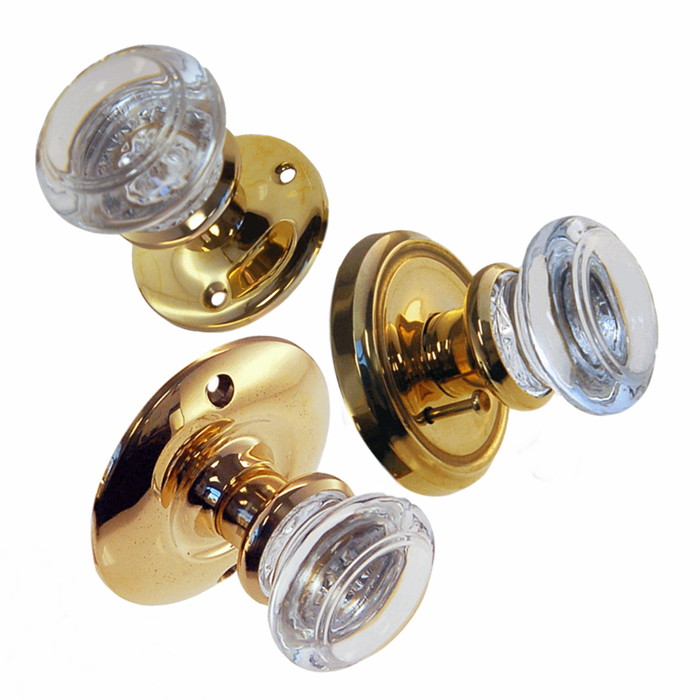 Round Glass Doorknob Sets w/Polished Brass Rosettes