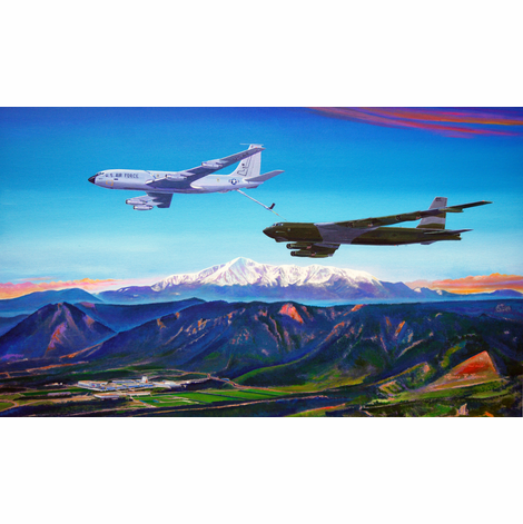 Fini Flight: KC-135A with B-52G over USAFA 15x24 Canvas