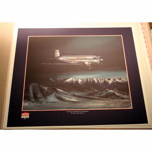 United Airlines DC-3: With Custom Border. Art Proof. 1 Available