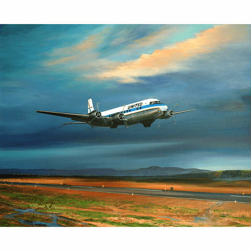 """""""Wheels Up!"""" United DC-6: Paper & Canvas Editions"""