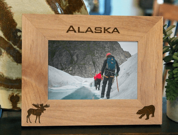 Alaska Picture Frame - Personalized Souvenir Frame - Laser Engraved Moose & Bear
