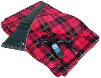 12 Volt Heated Fleece Travel Blanket & Bear Claw Ice Scraper Set