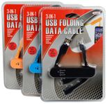 3-In-1 12 Volt USB Folding Data Cable & Charger