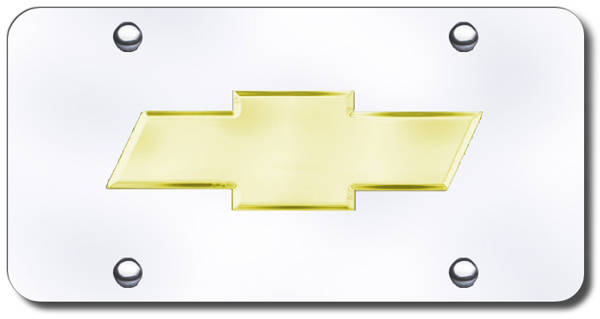 Image of 3D 24K Gold Chevy Logo Stainless Steel License Plate