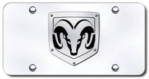 Brushed Steel Riveted Dodge Ram Logo Stainless License Plate