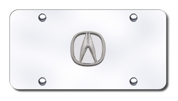 Image of 3D Chrome Acura Logo Stainless Steel License Plate