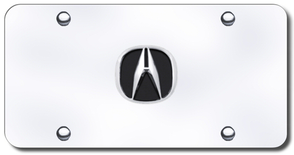Image of 3D Chrome & Black Acura Logo Stainless Steel License Plate