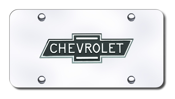 Image of 3D Chrome & Black Chevy Logo & Name Stainless Steel License Plate