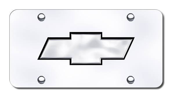 Image of 3D Chrome & Black Chevy Logo Stainless Steel License Plate