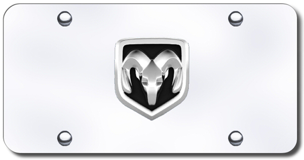 Image of 3D Chrome Dodge Ram Logo Stainless Steel License Plate