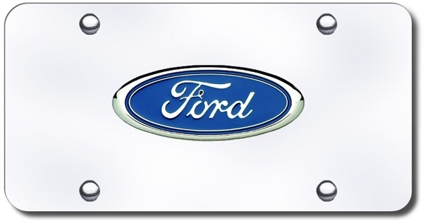 Image of 3D Chrome Ford Colored Logo Stainless Steel License Plate