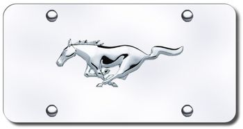 Ford Mustang Gold Logo On Stainless Steel License Plate