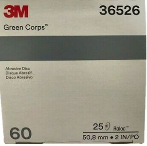 """3M Green Corps 2"""" Roloc Disc 60 Grit (25 Pack)"""