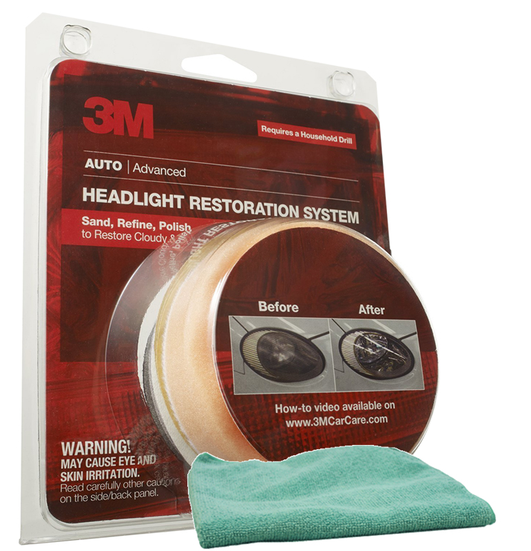 Image of 3M Headlight Lens Restoration System & Microfiber Cloth