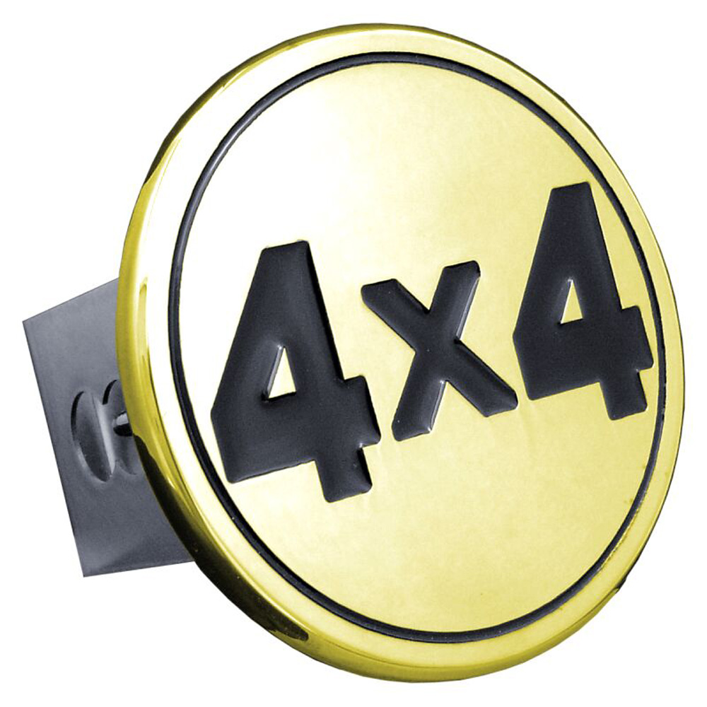 Image of Black 4x4 Logo Gold-Plated Stainless Steel Hitch Plug