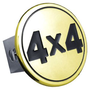Black 4x4 Logo Gold-Plated Stainless Steel Hitch Plug