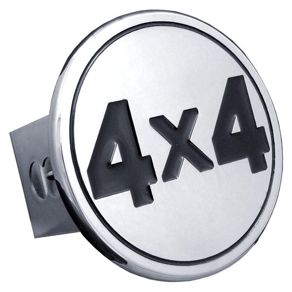 Image of Black 4x4 Logo Stainless Steel Hitch Plug