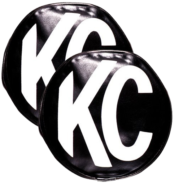 "Image of ""6"""" Round Black Vinyl Cover White KC Logo (Pair)"""