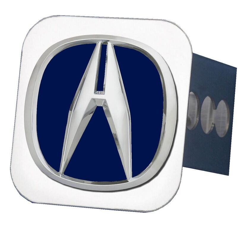 Chrome Acura Logo Blue Fill Stainless Steel Hitch Plug