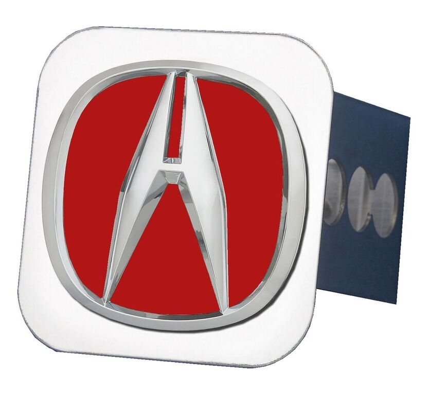 Chrome Acura Logo Red Fill Stainless Steel Hitch Plug