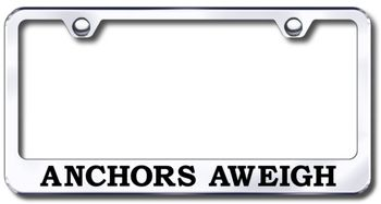 Anchors Aweigh Laser Etched Stainless Steel License Plate Frame