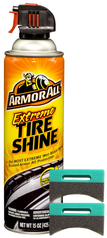 Image of Armor All Extreme Tire Shine Aerosol (15 oz.) & Applicator Pads Kit