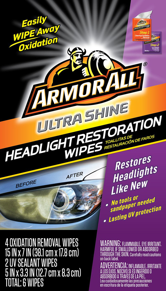 Image of Armor All Ultra Shine Headlight Restoration Wipes (6 Wipes)