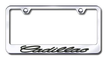 Black 3D Cadillac Logo Stainless Steel License Plate Frame