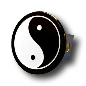 Black and White Yin Yang Stainless Steel Hitch Plug