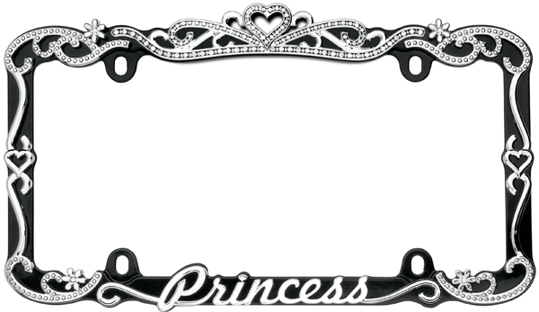 Image of Black & Chrome Princess License Plate Frame