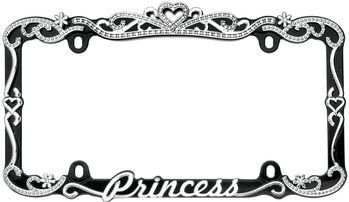 Black & Chrome Princess License Plate Frame