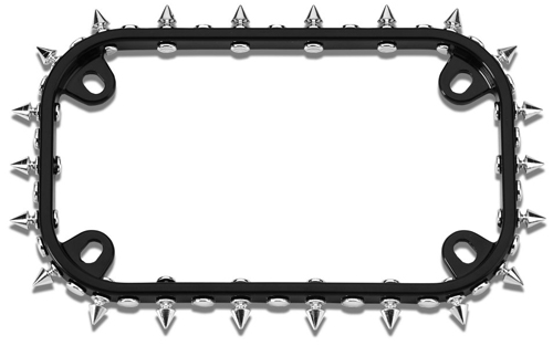 Image of Black/Chrome Spikes Motorcycle License Plate Frame