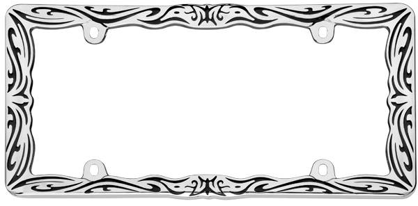 Image of Black/Chrome Tribal II Print License Plate Frame