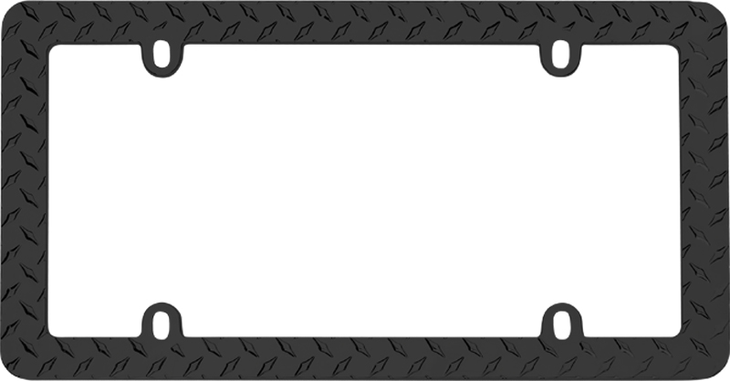 Image of Black Diamond Plate License Plate Frame
