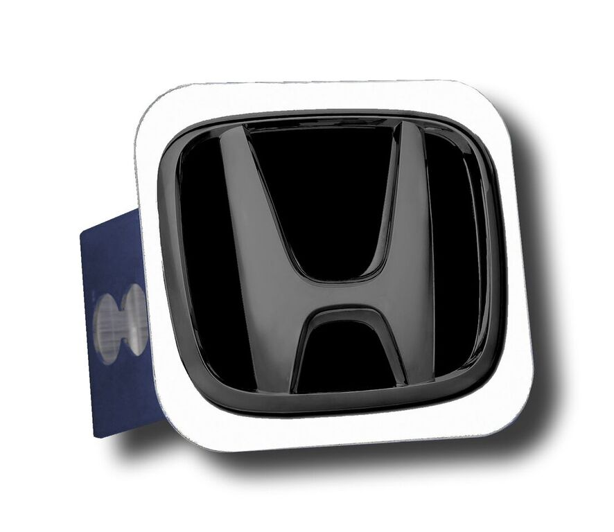 Image of Black Pearl Honda Logo Black Fill Stainless Steel Hitch Plug