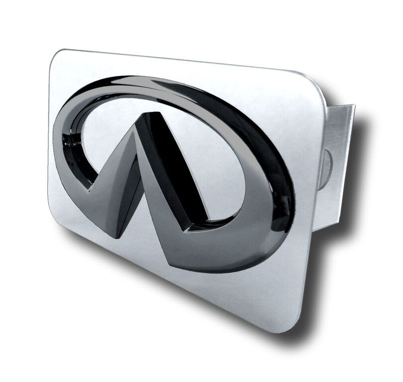 Image of Black Pearl Infiniti Logo Stainless Steel Hitch Plug