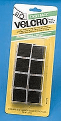 Black Sticky Back Velcro Squares (12 Pieces)