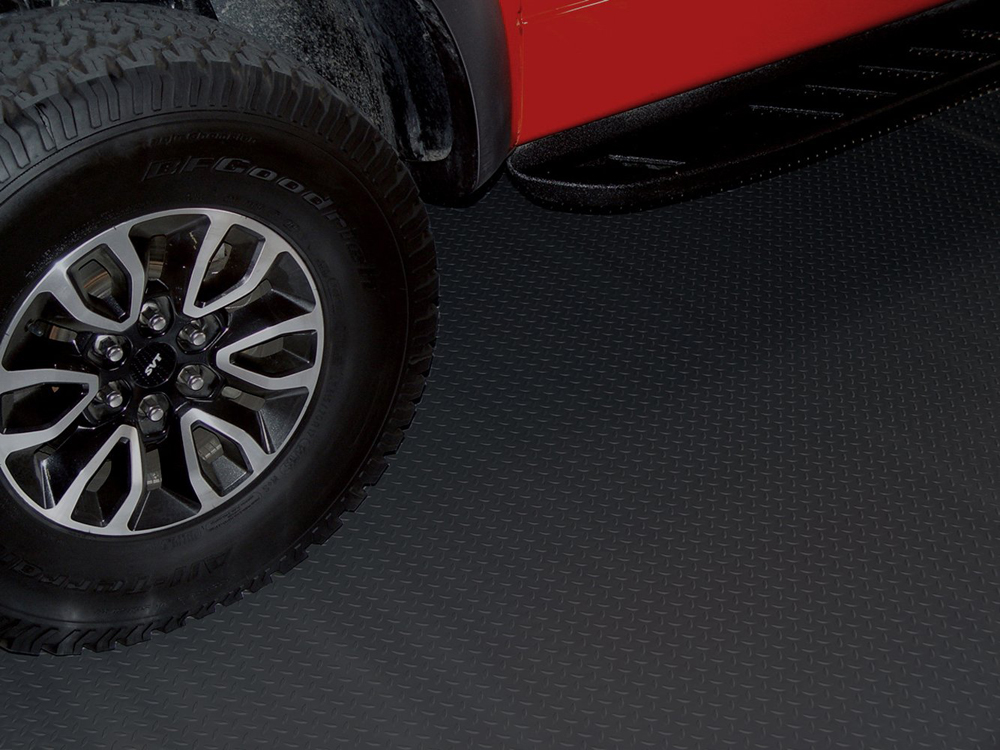 Image of Black Textured Diamond Deck Rollout Flooring Car Mat