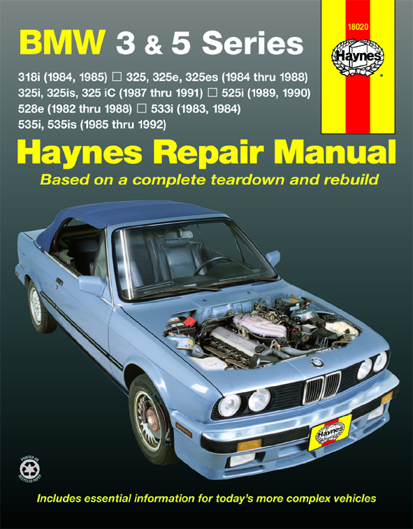 Complete coverage for your BMW 3 & 5 series 1982-1992 for gasoline engines and two wheel drive models...