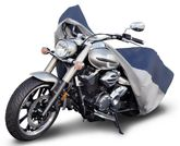 Budge Water Resistant Outdoor Blue & Gray Motorcycle Cover