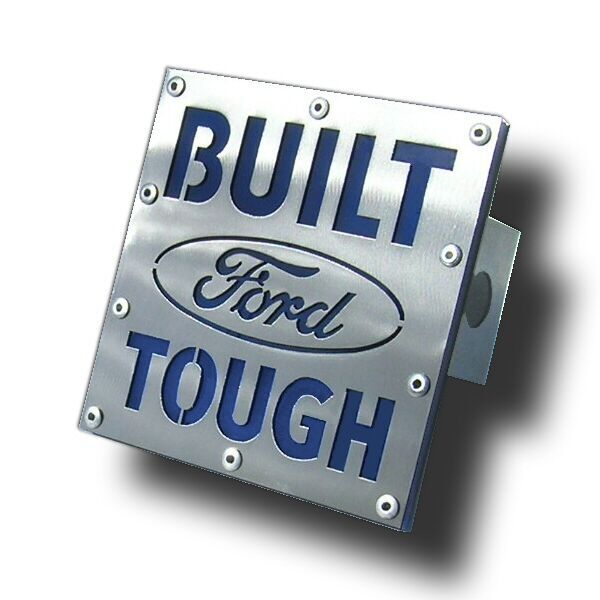 Image of Built Ford Tough Logo Brushed Stainless Steel Hitch Plug