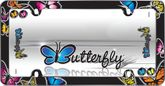 Butterflies Black License Plate Frame
