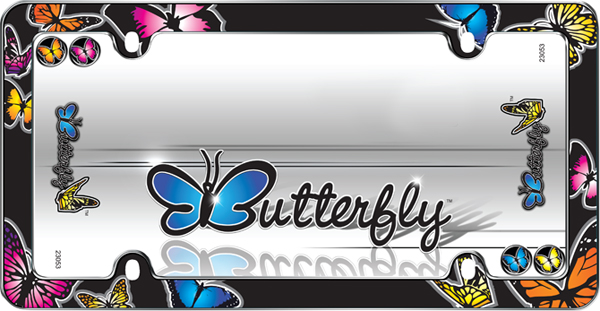 Image of Butterflies Black License Plate Frame