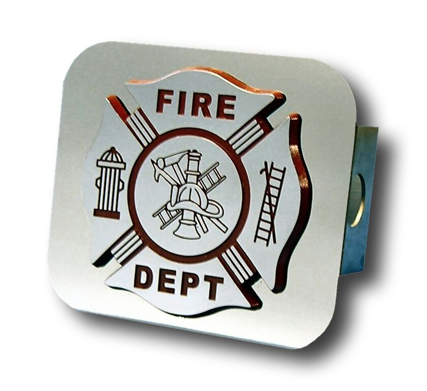 Chrome Fire Department Logo Stainless Steel Hitch Plug